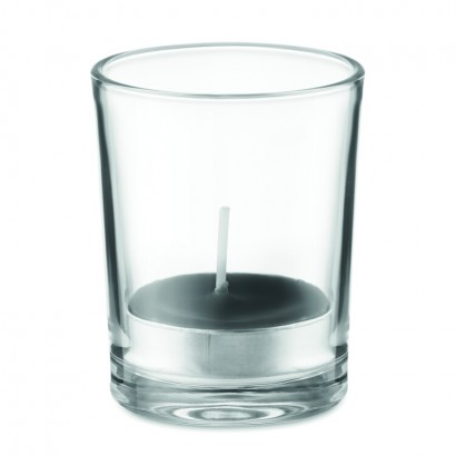 Fragranced small candle in transparent glass holder with coloured tea light