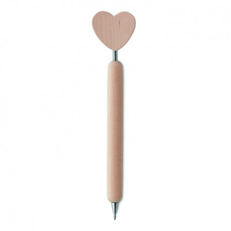 Wooden ball pen with heart on the top