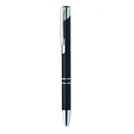Push button ball pen in 50% wheat straw and 50% ABS material with silver fittings