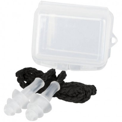 Set of 2 reusable silicone earplugs with triple flange and neck cord in PP case