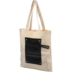 Roll-up buttoned cotton tote bag