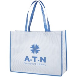 Shopper bag with a fine-striped design with matching coloured handles and trim