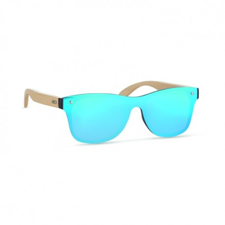 Sunglasses with bamboo arms and all over mirrored lens