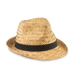 Natural straw hat with polyester band