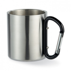 Double wall stainless steel mug, with carabiner handle