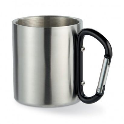 Metal mug w carabiner handle