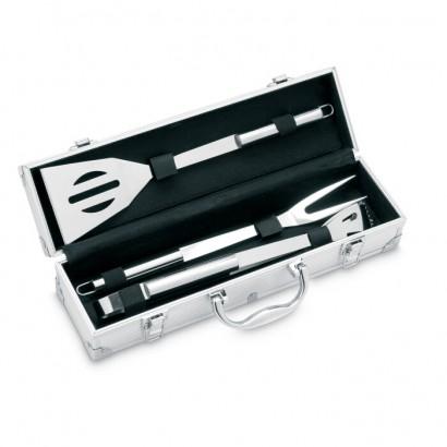 3 BBQ tools in aluminium case