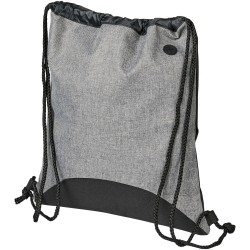 Drawstring backpack with media earbud port and thick deluxe string straps for carrying comfort