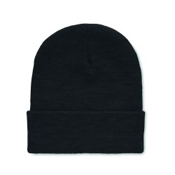 Unisex knitted Beanie hat in soft stretchable RPET polyester with rolled up cuff